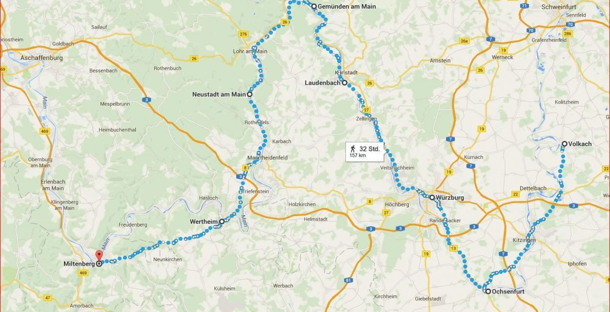 Wanderfahrt auf dem Main von Volkach bis Miltenberg