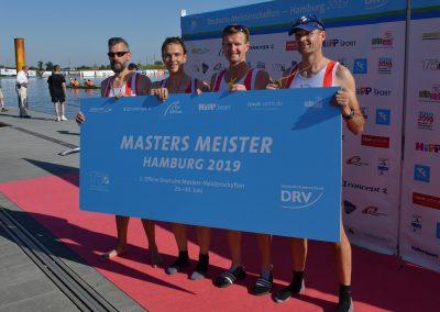 Deutsche Meister im Masters Vierer: Ralf-Jürgen von Daack, Ralf Gentz, Stephan Klaus, Christoph Dyck